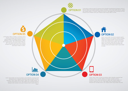 pentagon: info graphics - colorful graph,cylinder