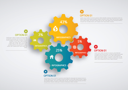 info graphics - colorful graph, gear