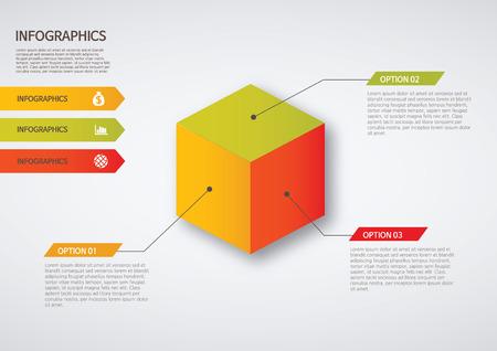 venn: info graphics - colorful graph,cube Illustration