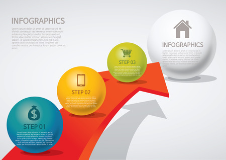 venn: info-graphic - sphere style - arrow Illustration