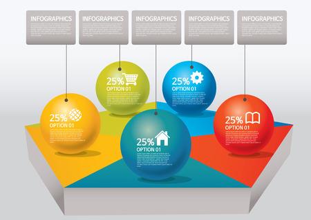 venn: info-graphic - sphere style - percentage, pentagon