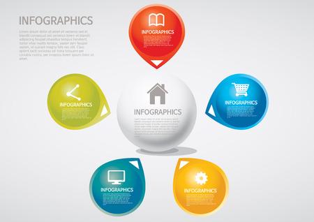 venn: info graphics - five, section, Venn diagram Illustration