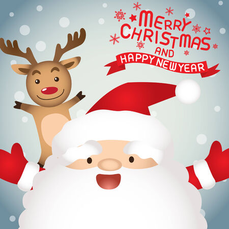 Merry christmas , santa claus and rudolph