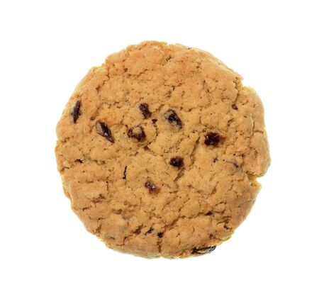 Isolate raisin cookiebiscuit, a top view closeup photo image of raisin cookiebiscuit isolate on white background present a detail of crack pattern and texture on raisin cookiebiscuit surface