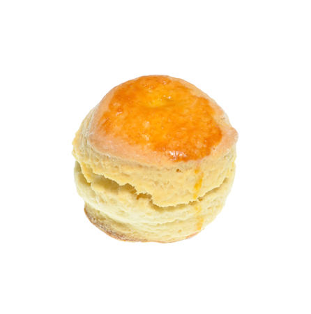 Isolate cheese scone, a top view close up photo image of cheese scone isolate on bright white light background present a detail on a top view of cheese scone