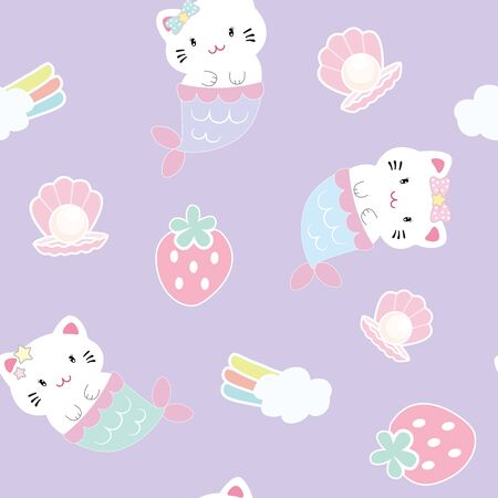 Cute cat mermaid with pearl seamless pattern