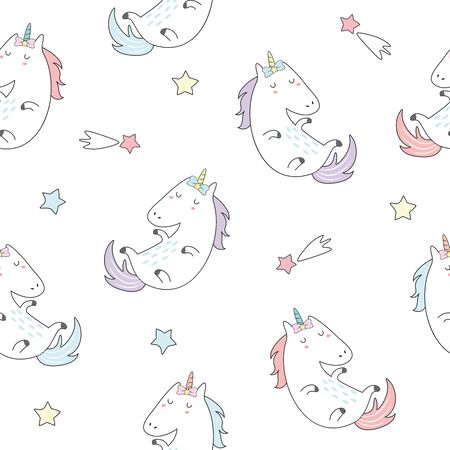 Cute unicorn with colorful star seamless pattern