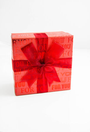 Red gift box on white background Stock Photo