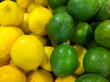 citric: Yellow and green lemon Stock Photo