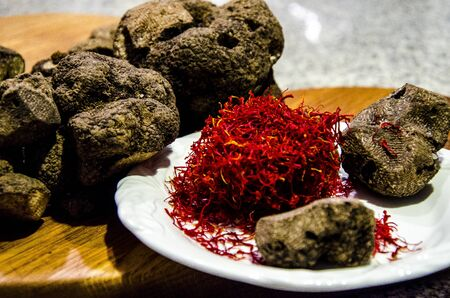 Freshly picked black truffles and local saffron from Abruzzo,Italy
