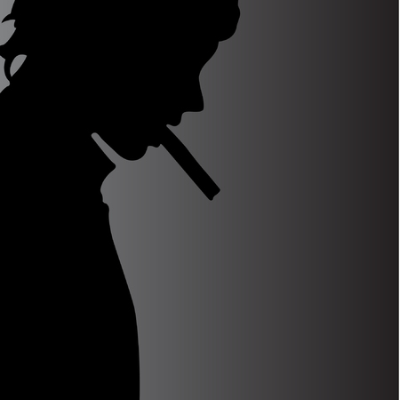 cigar smoke: Fine art portrait of masculine guy smoking a cigar illustration