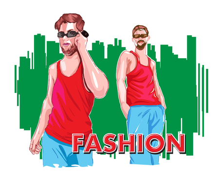 fashion man Standing red and blue dress in green background Illustration