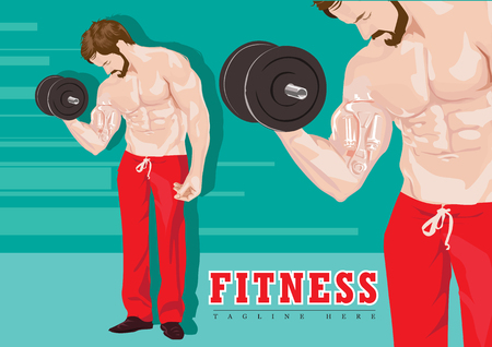 Sexy man with dumbbells without shirt red color pants