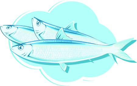 Belle illustration vectorielle des sardines