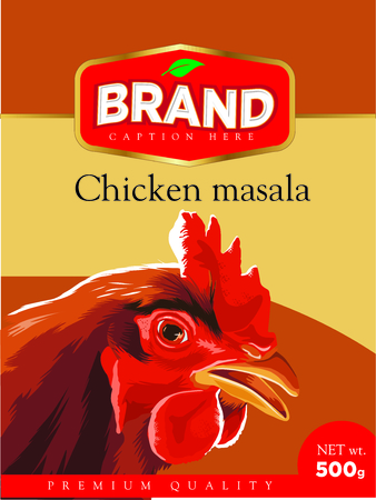 Chicken Curry  masala label packaging  on a label  Background