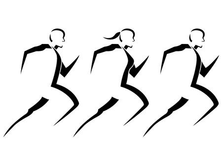 走っている人達のベクトル イラスト