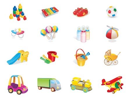 carritos de juguete: lindo beb� jugando iconos web 2.0 Vectores