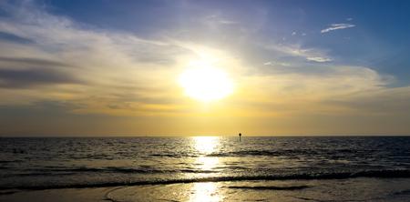 stingrays: Sunset Over the Ocean Stock Photo