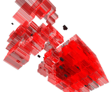 Transparent Red Glass Cube