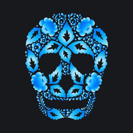 Skull of Russian folk Khokhloma pattern on a dark background Illustration