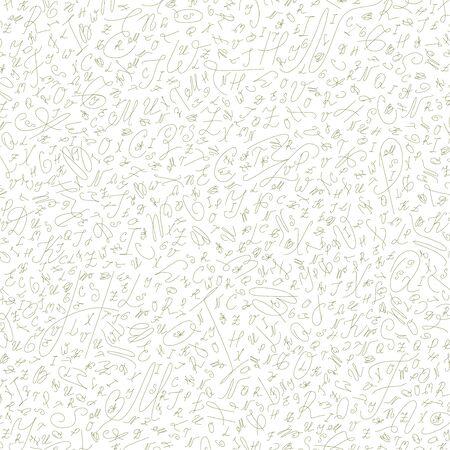 ballpoint: seamless abstract background of the alphabet  in ballpoint pen olive handwritten style Illustration