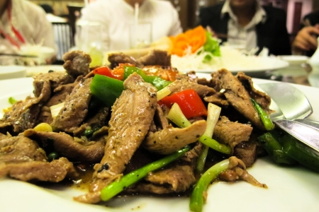 fried pork with pepper photo