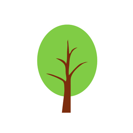 broad leaved tree: tree, vector, icon, oak, natural