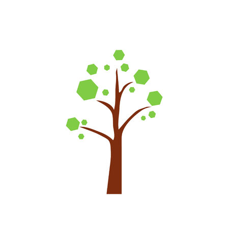 leaved: tree, vector, icon, oak, green