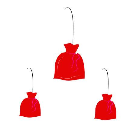 sackful: santa, bag, gift, sackful,  isolated, red, new