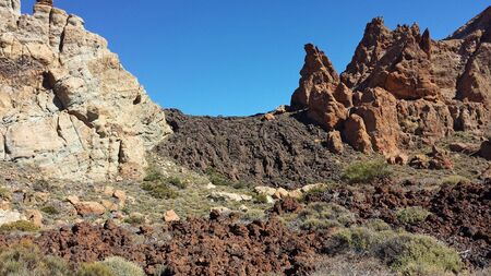 Cañadas Teide mountain in Tenerife. Petrified lava with its rocks ruined by erosion in national park. The highest peak in Canary Islands.