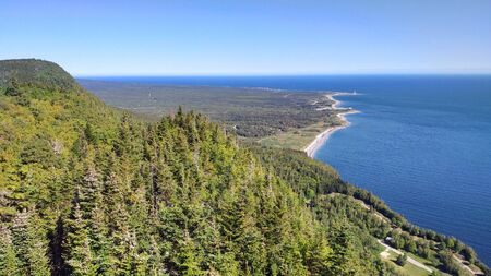 Panoramic view of the St. Lawerence Gulf from the highest observation point of Mt. St. Alban, Gaspe Peninsula, Quebec, Canada