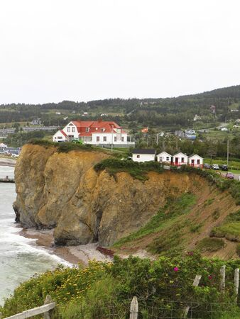 View from the lookout at Percé, Quebec, Canada.- the coast of Perce in Gaspesie