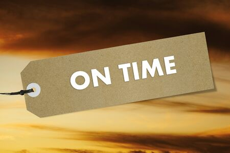 Quality label with text ON TIME on sunset sky background. Mockup