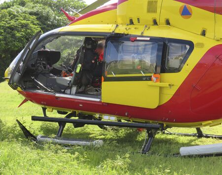 Civil protection helicopter cockpit view on Martinique Island. French West Indies Antilles