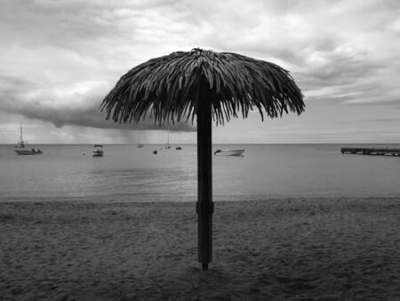 Black and white image of the Caribbean Sea with silhouette of ships and Hawaiian umbrella. Straw umbrella close-up