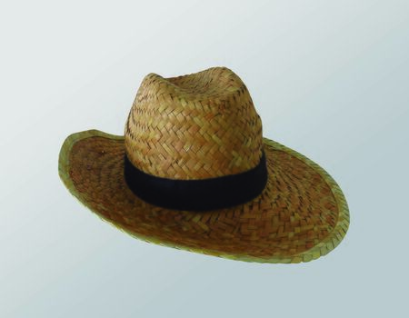 Panama hat, traditional caribbean hat with black hatband or ribbon, isolated on white background.