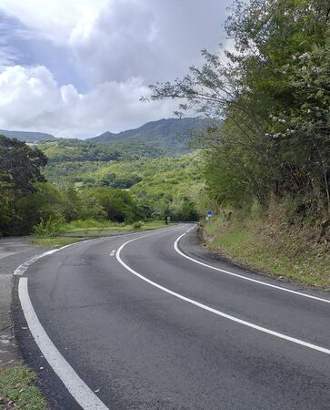 Curve asphalt road in tropical island. Bend street up to the mountain. Serpentine road in forest. Stockfoto