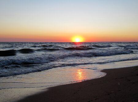 Beautiful sea landscape on a sunset                                photo