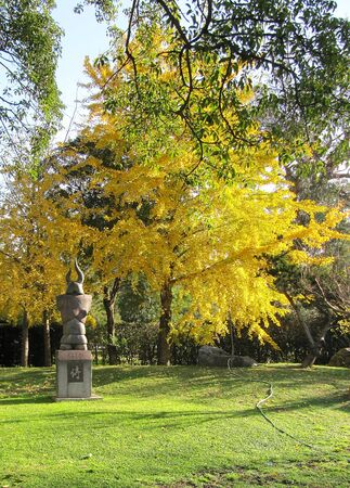 Monument Samurai in an autumn Japanese garden