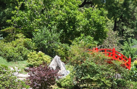 Traditional Japanese garden in the spring  Stock Photo