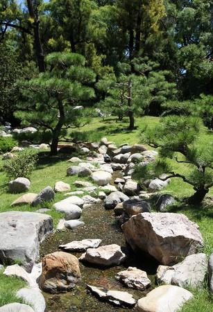 streamlet: Summer Japanese garden  Green nature and streamlet  Stock Photo
