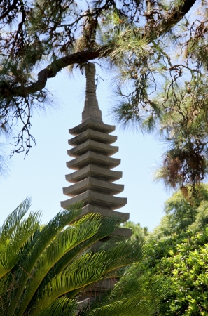 Japanese garden  Stone traditional tower