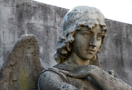 Sad Angel female old statue  photo