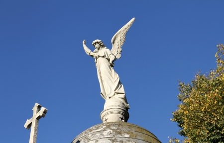 Cemetery Recoleta  Statue Angel and Christian Cross  Stock Photo
