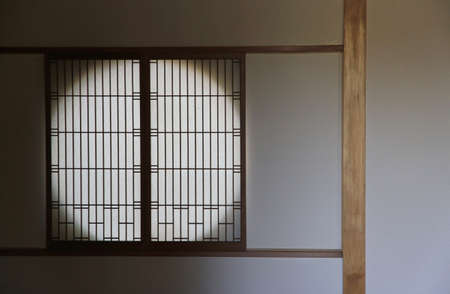 Window in the Tea house of the Japanese garden