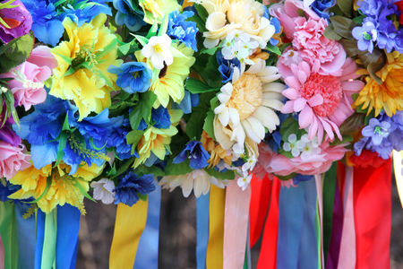 Ukrainian flower wreaths. Ukrainian suit. photo