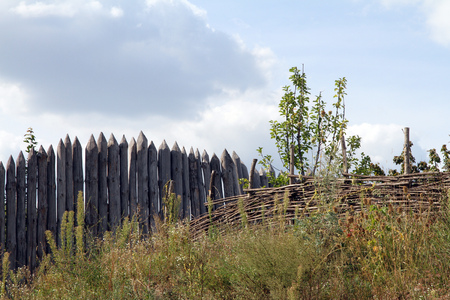 wattled: Wooden and wattled fence. Rural look. Stock Photo