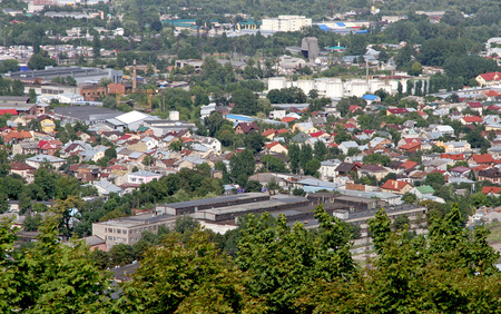 townscape: Townscape of Lviv from height. Cities of Ukraine. Stock Photo