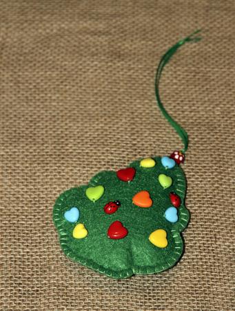 trabajo manual: Navidad sintió abeto. recuerdo trabajo hecho a mano.