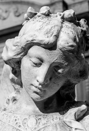 angel cemetery: Angel sad face. Stone statue, Recoleta cemetery. Stock Photo